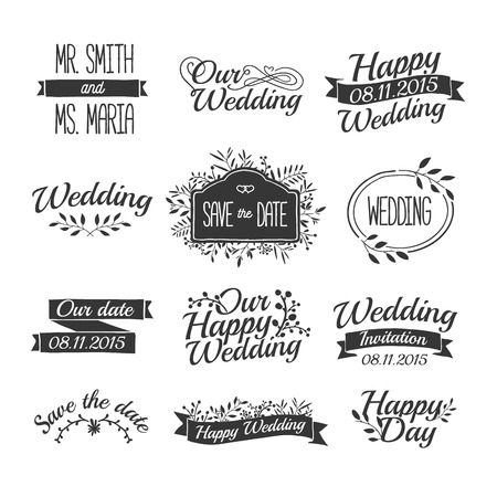 dates: Set of wedding vintage retro signs, labels, stickers. Typographical background with floral ornaments, ribbons, frames. Vector
