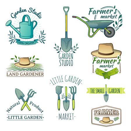 jardinero: Conjunto de etiquetas de color de época retro. Instrumentos, Tienda de jardín, granja, huerta orgánica. Vector