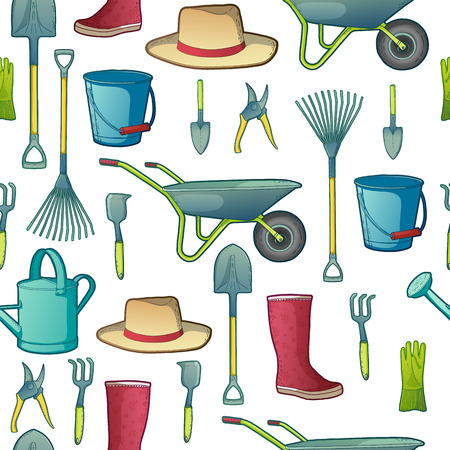 secateurs: Color pattern with garden tools. Instruments and hat, wheelbarrow and gloves. vector.