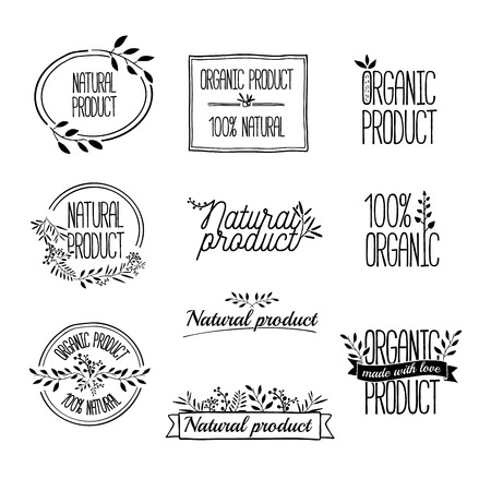 Badges or labels with ribbons and plants elements, wreaths and laurels branches. Organic or bio, ecology, eco natural design template. Hand drawing. Vintage vector. Ilustracja