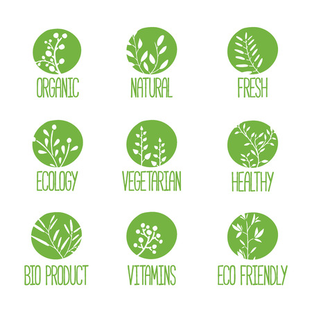 Set of stamps. Silhouettes of twigs, leaves, plants, berries. Green color. Vector illustration Ilustracja