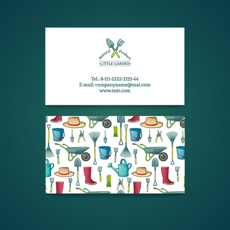 Template design business card with garden tools pattern and template design business card with garden tools pattern and card gardening vector place reheart Gallery