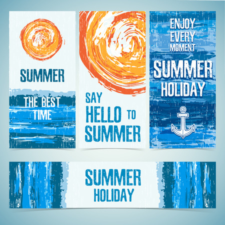 blue water: A set of banners, cards, headers for the summer holidays. Texture of water and the silhouette of the sun. Place for your text. Vector