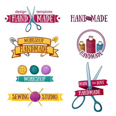gomitoli di lana: Set di epoca distintivi fatti a mano retrò, etichette ed elementi, simboli retrò per negozio locale di cucito, maglia del club, artista a mano o maglificio.