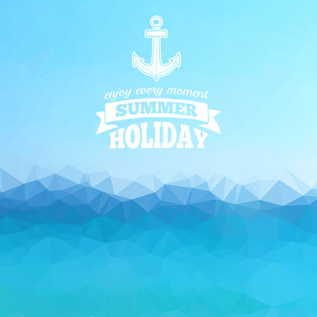 blue sea: Abstract polygon background. Blue sea background with a summer with anchor. Vector