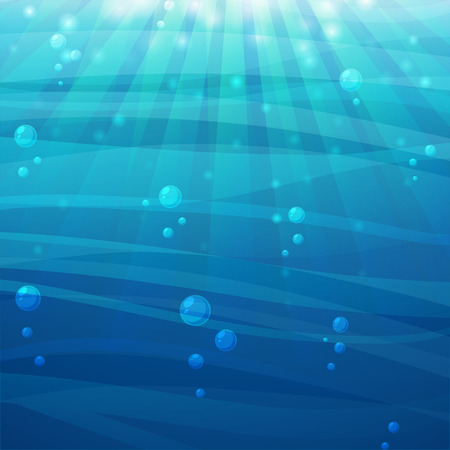 fond marin: Cartoon mer de fond avec la lumière et les bulles soleil. Vecteur