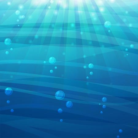 olas de mar: Mar de fondo de dibujos animados con la luz del sol y las burbujas. Vector