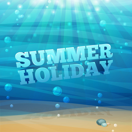 underwater light: Template design, posters, banners with underwater background with waves, sand, bubbles. 3D text summer holidays. Vector