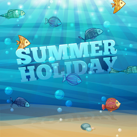 submerged: Template design, posters, banners with underwater background with waves, sand, bubbles and colorful fish. 3D text summer holidays. Vector
