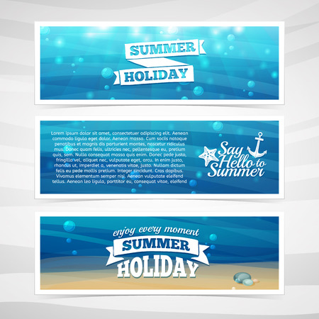 et design template horizontal banners. Underwater background with sand, waves, flares. marine elements. Place for your text. Vector