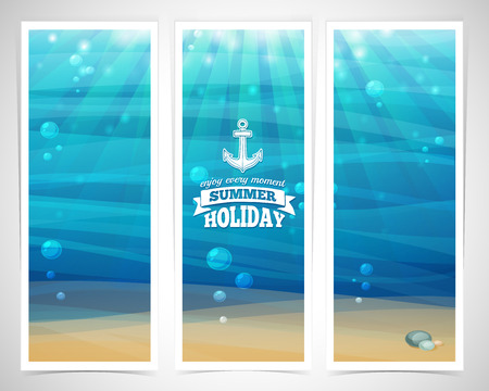 Set design template vertical banners. Underwater background with sand, bubble, waves, flares. marine elements. Place for your text. Vector