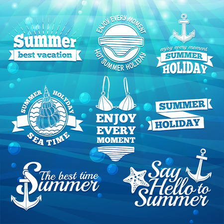 Template design white label, badge, prints for the summer holidays and vacations. Marine elements and swimsuit. Sea background with sun light and bubbles. Vector Ilustracja