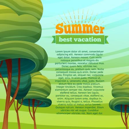 템플릿 디자인 카드, 포스터, 브로셔, 전단지. 하늘과 나무와 만화 배경입니다. 아이콘, 여름 휴가 레이블. 텍스트 배치합니다. 벡터