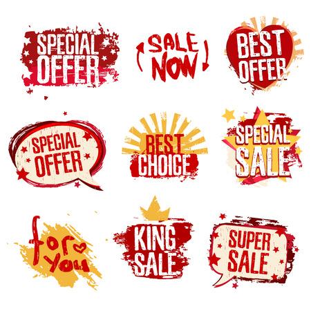 판매, 할인, 이벤트 스티커의 설정 디자인 서식 파일입니다. 그런 지 질감과 붉은 색. 벡터. 일러스트