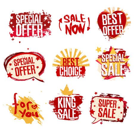 Set design template of stickers for sales, discounts, offers. Grunge texture and red color. Vector. Illusztráció