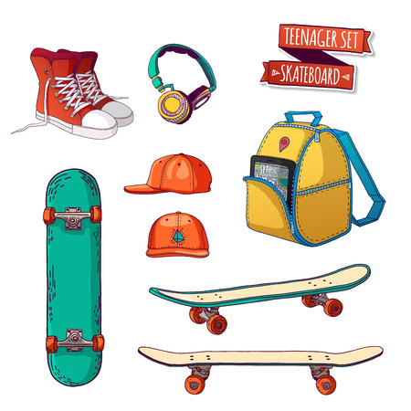 urban style: Set of elements for teenagers with skateboards