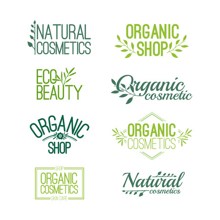 Set of patterns for design stamps, stickers for organic and natural cosmetics. Floral elements and text. Vector