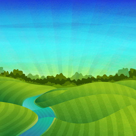 grass: Template banner design, posters. Landscape with fields, meadows, river, sunrise and forest. Vector. Place for your text