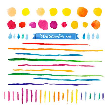 수채화 요소의 집합입니다. 관광 명소 여러 가지 빛깔의 컬렉션입니다. 벡터