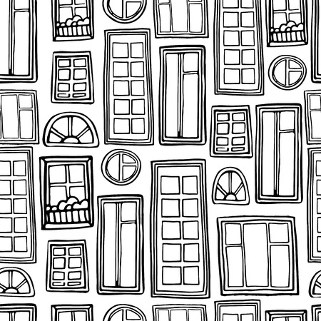 window frame: Seamless monochrome pattern of a variety of windows. Vector Illustration