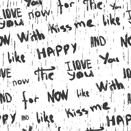 Monochrome seamless pattern with words, phrases and grange texture Stock Illustratie