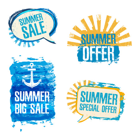 Set of logos, badges, stickers, conversational loot of Summer Sale. Grunge texture, blue and yellow colors. Vector
