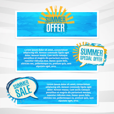 promotion: Set of horizontal banners with stickers, labels, badges summer sale. Blue texture background. Place for your text. Vector