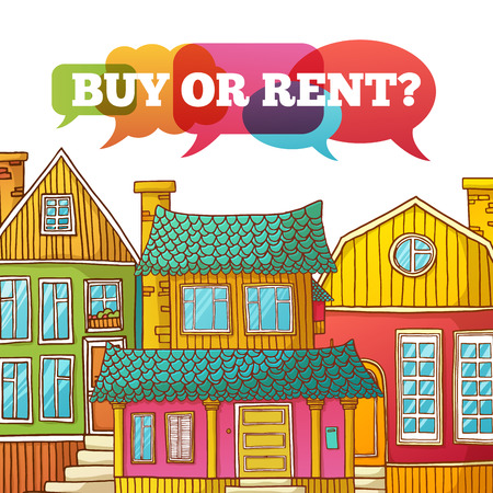 renting: Template design banner or poster of renting and buying homes. Cartoon colored houses. Vector. Place for your text