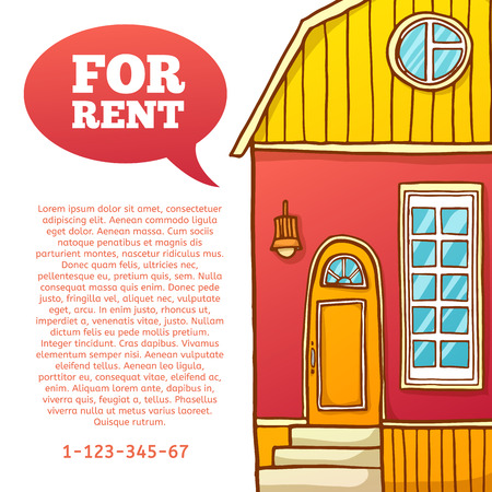 renting: Template design banner or poster of renting and buying homes. Red cartoon houses. Vector. Place for your text Illustration