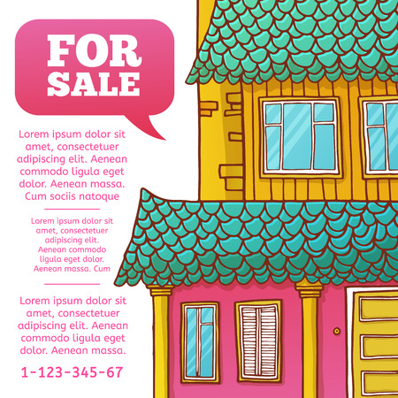 renting: Template design banner or poster of renting and buying homes. Pink cartoon houses. Vector. Place for your text