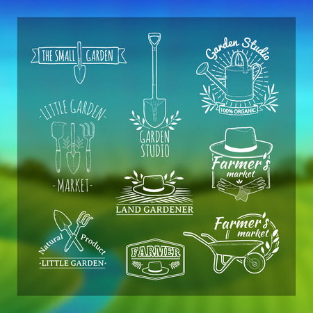 gardening equipment: Set of vintage retro logos, badges, badges, labels. Shop garden, farm, organic garden. Blurred background with landscape of green meadows, the river and the sunrise. Vector