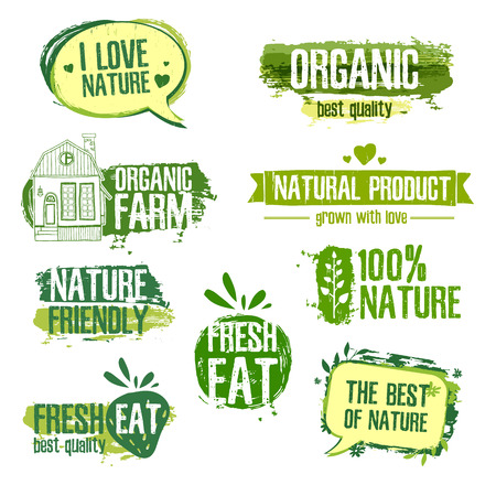 logo de comida: Conjunto de los logos de los productos naturales, granjas orgánicas. Elementos florales y textura sucia. Verde, colores pastel. Vector
