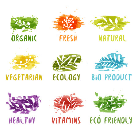 Set of logos. Silhouettes of twigs. Colored watercolor spot. Vector illustration