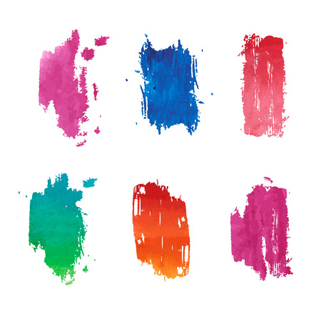 Set of abstract vertical colored watercolor stains.  Gradient color. Good for design template, logos, stickers, cards, banners. Vector