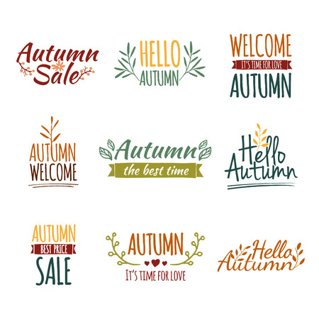 Set of colored retro vintage logos, icons, stickers with the text of the autumn and floral elements. Vector