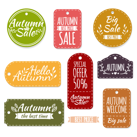 simple store: Set of colored autumn labels or coupons. Spring discounts, promotions, offers. Vector. Place for your text