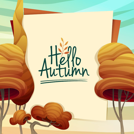 autumn landscape: Template Design autumn poster, brochures, posters, postcards Hello autumn. Frame with autumn trees in a cartoon style. Vector Illustration