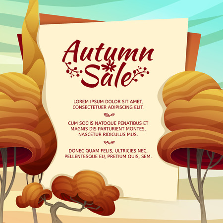 Template Design autumn sale, brochures, posters, postcards. Frame with autumn trees in a cartoon style. Vector
