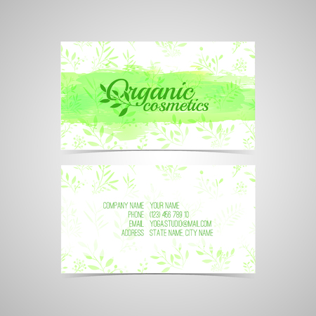 Design template for Organic cosmetics business card with watercolor texture and flower, leaf, herb. Vector. Place for your text. Illustration