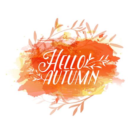 Template design of logo, stamp silhouette Hello, Autumn. Watercolor orange texture. Vector Illustration