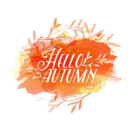 Template design of logo, stamp silhouette Hello, Autumn. Watercolor orange texture. Vector Çizim