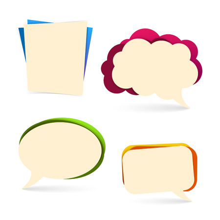 spoken: Set of bubbles for spoken presentations, commerce promotion. Colourful, with a shadow. Vector. Place for your text