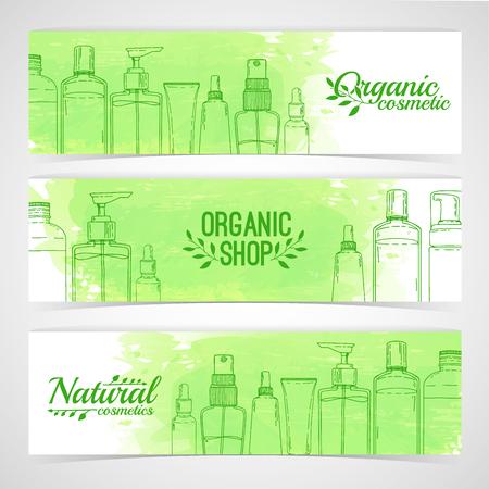 Plantilla de diseño horizontal de folletos, folletos, carteles, pancartas sobre cosméticos orgánicos, tienda ecológica. Diseño con botellas, tubos de cosméticos decorativos. Vector Vectores