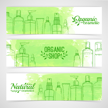 Horizontal design template of brochures, booklets, posters, banners about organic cosmetics, organic shop. Design with bottles, tube of decorative cosmetics. Vector