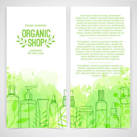 Plantilla de diseño vertical de folletos, folletos, carteles, pancartas sobre cosméticos orgánicos, tienda ecológica. Diseño con botellas, tubos de cosméticos y hojas decorativas, hierbas. Vector