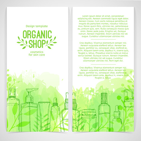 Vertical design template of brochures, booklets, posters, banners about organic cosmetics, organic shop. Design with bottles, tube of decorative cosmetics and leaves, herb. Vector Illustration