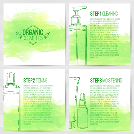 The square design template of brochures, booklets, posters, banners about organic cosmetics. Three-step skin care. Design with bottles of decorative cosmetics. Vector Illustration