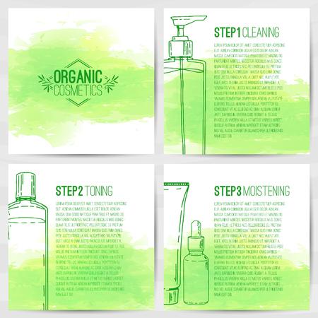 cosmeticos: La plantilla de diseño cuadrado de folletos, folletos, carteles, pancartas sobre cosméticos orgánicos. Cuidado de la piel en tres pasos. Diseño con botellas de cosméticos decorativos. Vector