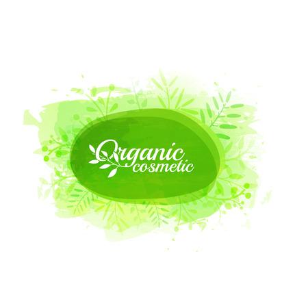 Logo, timbre, icône cosmétiques bio sur un fond vert avec des taches d'aquarelle, des branches, des feuilles. Vecteur