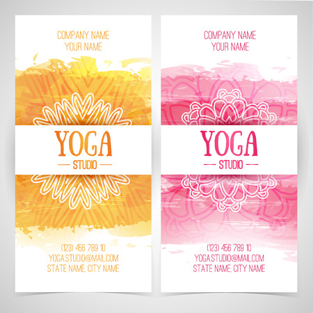 yoga class: Set design template brochures, cards, invitations, flyers for a yoga studio with watercolor texture and mandala. Vector. Place for your text